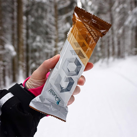 A picture of GO bar in the snow